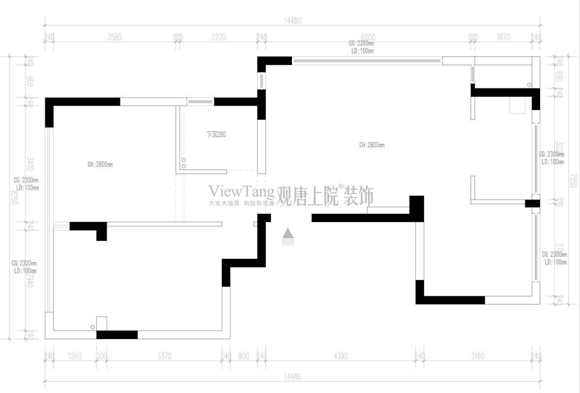 玉兰西花园102㎡原始结构图